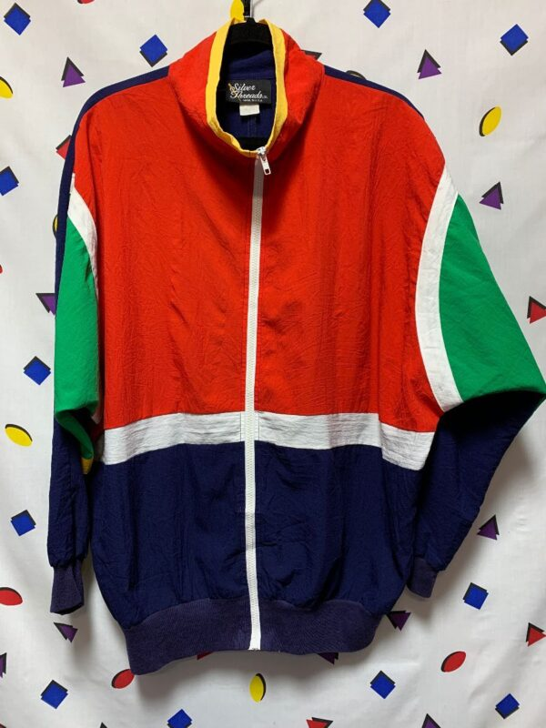 product details: 1980S COLORBLOCK WINDBREAKER MOCK NECK BATWING CUT MADE IN USA photo