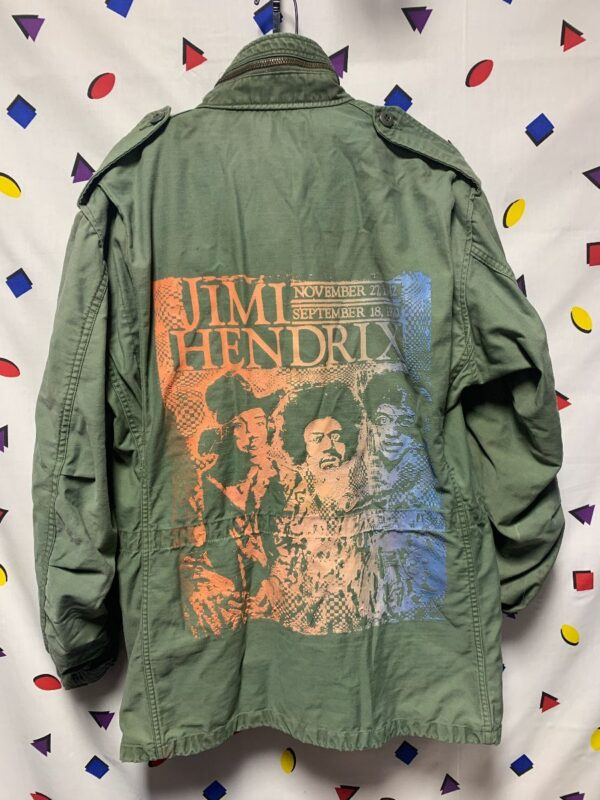 product details: VIETNAM ERA HEAVY MILITARY JACKET W/ HAND SCREENED JIMI HENDRIX BACK GRAPHIC AS-IS photo
