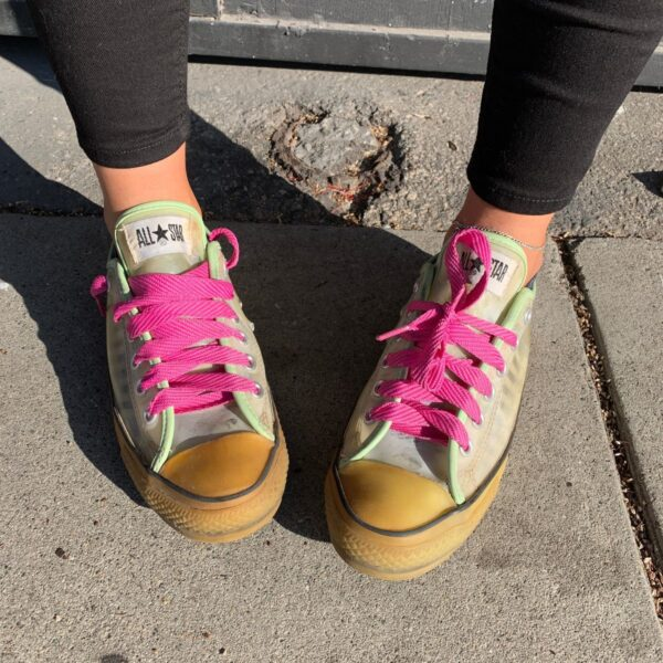 product details: RARE VINTAGE GLOW IN THE DARK ALL STAR TRANSPARENT RUBBER LOW TOP SNEAKERS PINK LACES photo