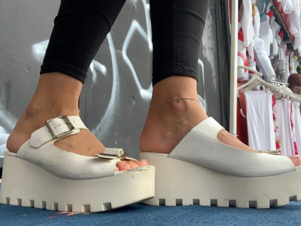 product details: CHUNKY PLATFORM SANDALS WITH JAGGED SOLES AND BUCKLE STRAPS AS IS photo