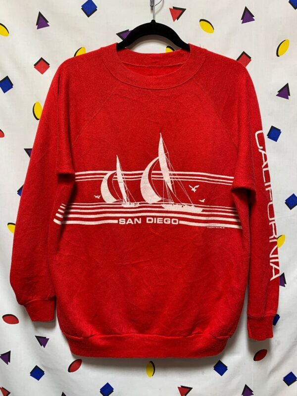product details: SAN DIEGO SAIL BOAT SCENE GRAPHIC PULLOVER SWEATSHIRT photo