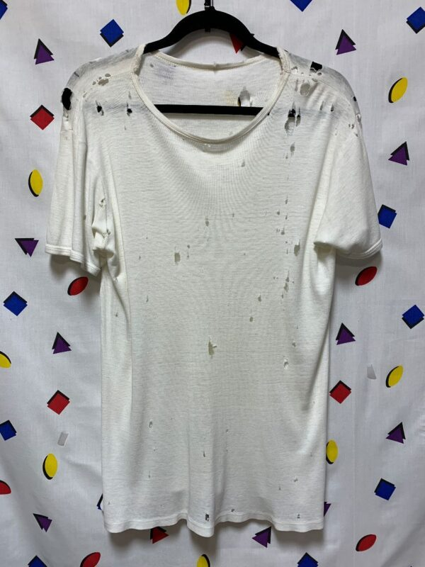 product details: RETRO RIBBED WEAVE TSHIRT PERFECTLY TATTERED SOFT THIN RETRO TEE photo
