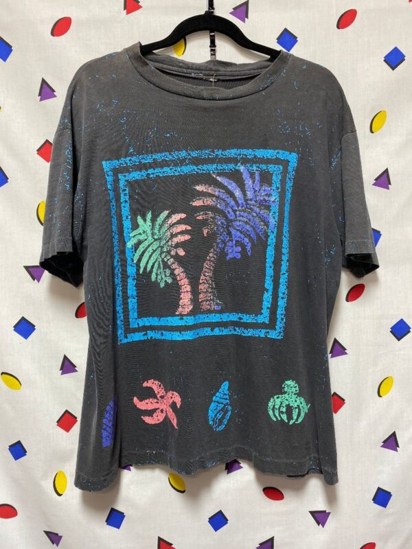 product details: 1980S SINGLE STITCH SPLATTER PAINT PALM TREE GRAPHIC TSHIRT AS-IS photo