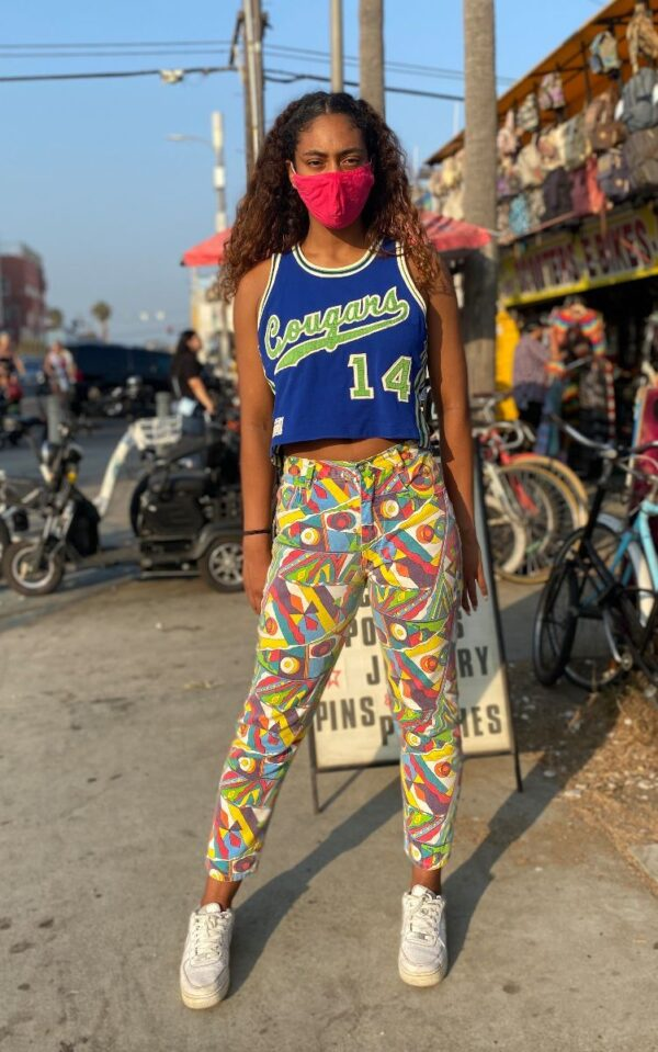 product details: 90S PSYCHEDELIC DENIM HIGH WAISTED PANTS GEOMETRIC PRINT STRAIGHT LEG  AS-IS photo