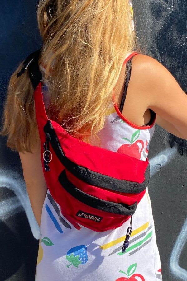 product details: JANSPORT CLASSIC NYLON FANNY PACK DOUBLE COMPARTMENT MADE IN USA photo