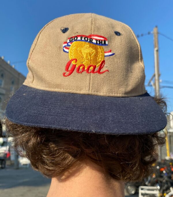 product details: GO FOR THE GOAL SNAPBACK BASEBALL CAP EMBROIDERED GOLD MEDAL DENIM BILL photo