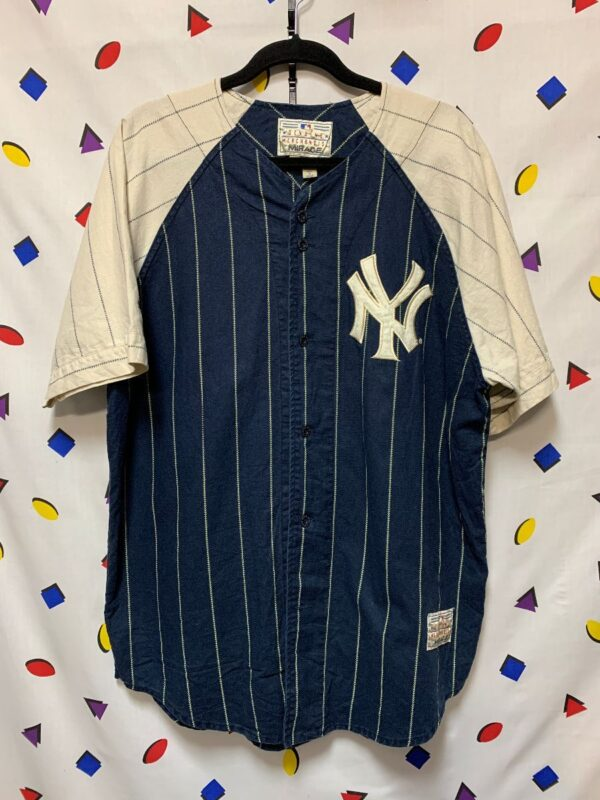 product details: MLB NEW YORK YANKEES COTTON PINSTRIPED BASEBALL JERSEY #2 photo