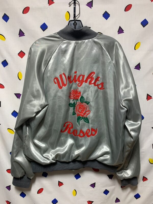 product details: WRIGHTS ROSES SATIN BUTTON UP JACKET W/ ROSE SILK SCREEN DESIGN AS-IS photo