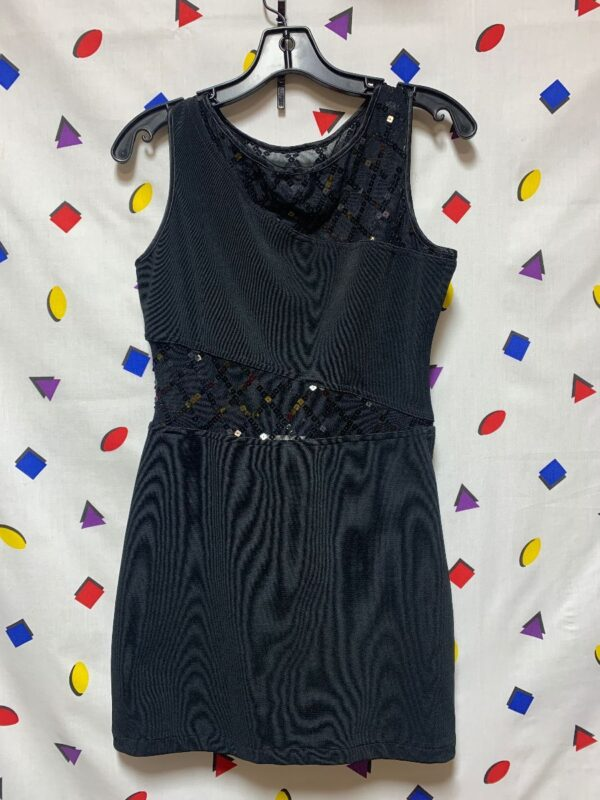product details: 1990S SLEEVELESS MINI DRESS WITH DIAGONAL SHEER CUT-OUT WAIST AND COLLAR WITH DIAMOND PATTERNED SEQUIN DETAIL photo