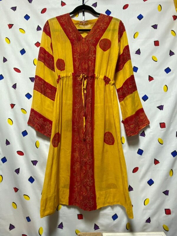 product details: MID LENGTH DRESS INDIAN COTTON DRESS DRAWSTRING WAIST POLKA DOT STRIPE PATTERN SAFFRON COLORED photo