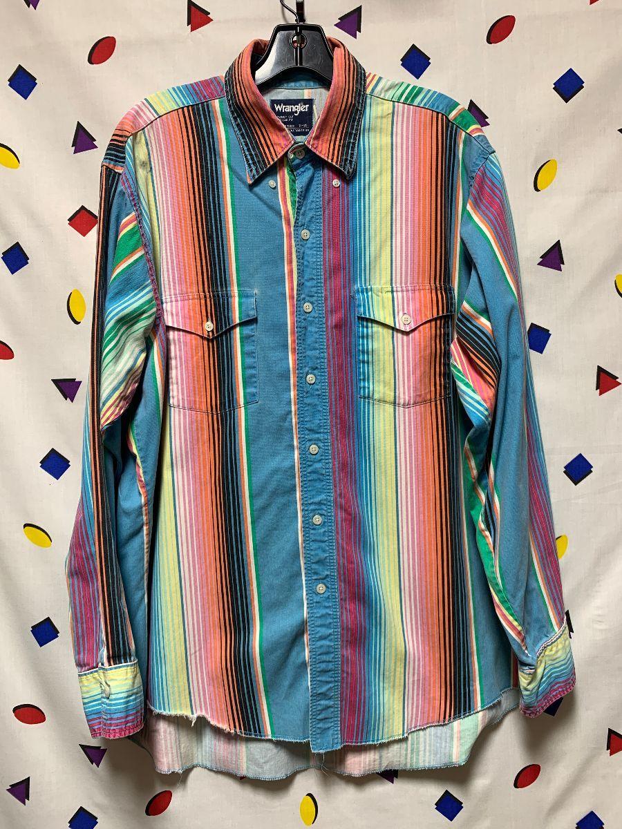 Vintage 80s PASTEL Plaid Wrangler Top Stitch Button Shirt Top Kei Boho XS S