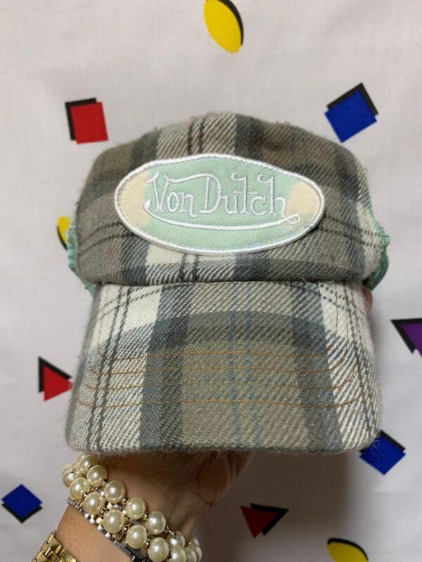 product details: VINTAGE LATE 90S VON DUTCH PLAID TRUCKER HAT AS-IS photo