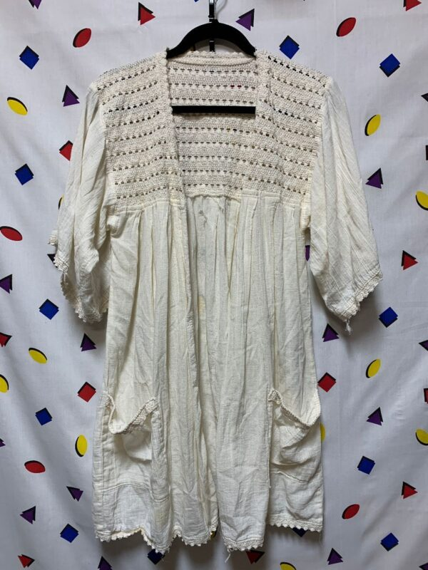 product details: OPEN FRONT TUNIC CROCHET DETAIL FRONT POCKETS  COTTON AS-IS photo