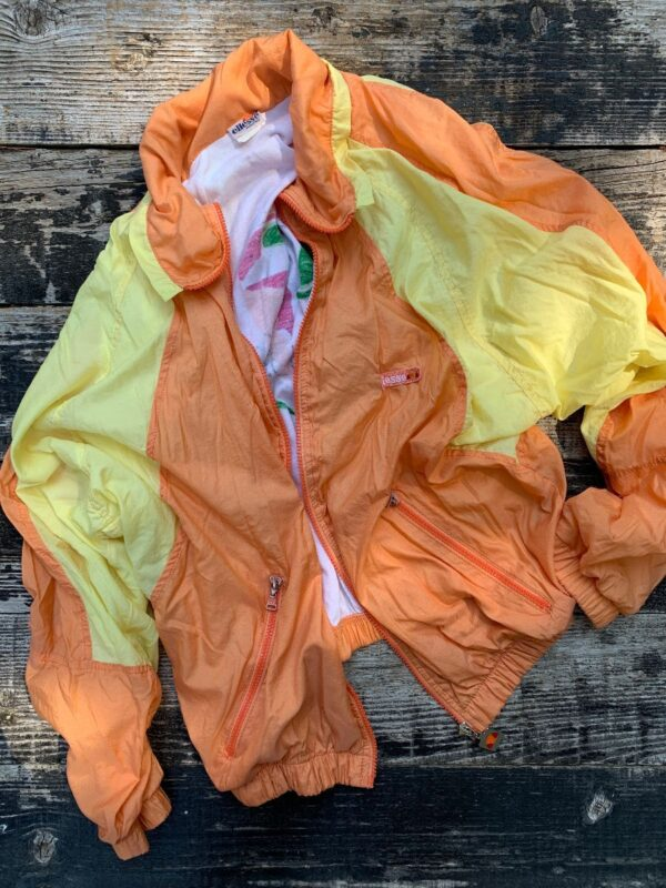 product details: PASTEL COLORBLOCK COTTON LINED ZIP UP ELLESSE WINDBREAKER JACKET ZIPPERED POCKETS MADE IN ITALY photo