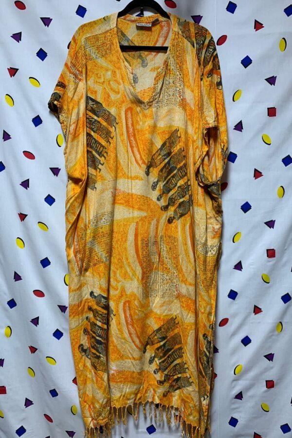 product details: FLOWY RAYON KAFTAN DRESS SLEEVELESS V NECK TASSEL FRINGE AFRICAN PRINT photo