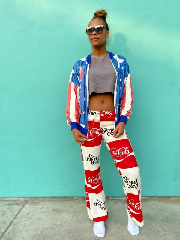 product details: 1970S COCA COLA BELL BOTTOM PANTS DRAWSTRING WAIST UNION MADE AS-IS photo