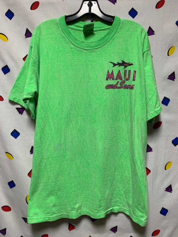 product details: 1980S NEON MAUI AND SONS W/ SHARK GRAPHIC T-SHIRT AS-IS photo