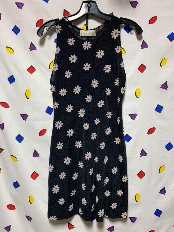 product details: 1990S DAISY PRINT SLINKY MINI DRESS photo