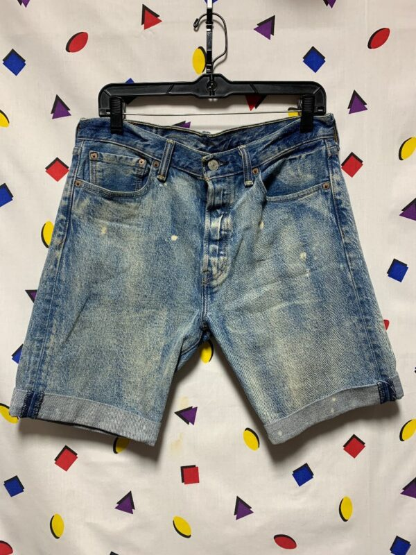 product details: LEVIS 501 DENIM DISTRESSED INDIGO WASHED CUFFED SHORTS AS-IS photo