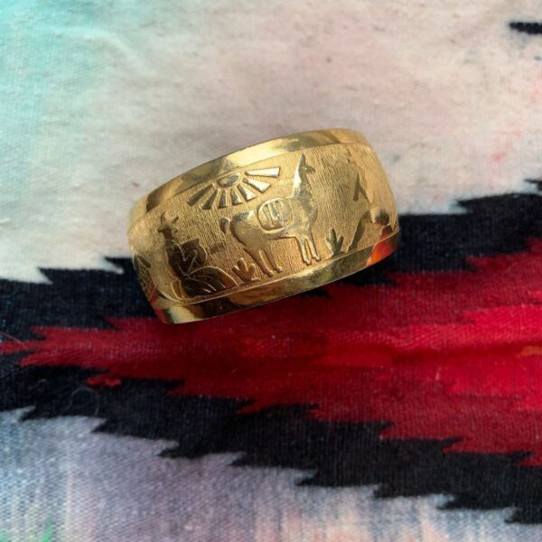 product details: PERUVIAN DESERT-SCAPE DESIGN STAMPED BRASS CUFF photo
