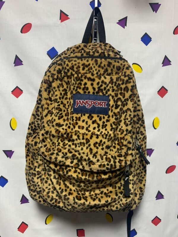 product details: FUZZY LEOPARD PRINT JANSPORT BACKPACK AS-IS photo