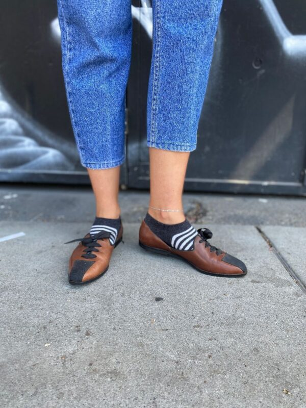 product details: 1980S LEATHER SLIP ON LOAFERS TWO-TONE RIBBON LACE UP photo