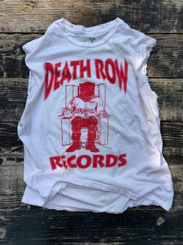 product details: T-SHIRT OFFICIAL RED LOGO DEATH ROW RECORDS CUTOFF SLEEVES HIP HOP photo
