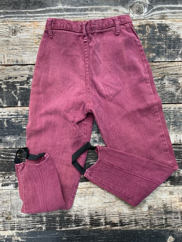 product details: VINTAGE 1980S DARK PLUM ACID WASH COTTON TWILL TAPERED LEG STIRRUP STRETCH DENIM PANTS photo