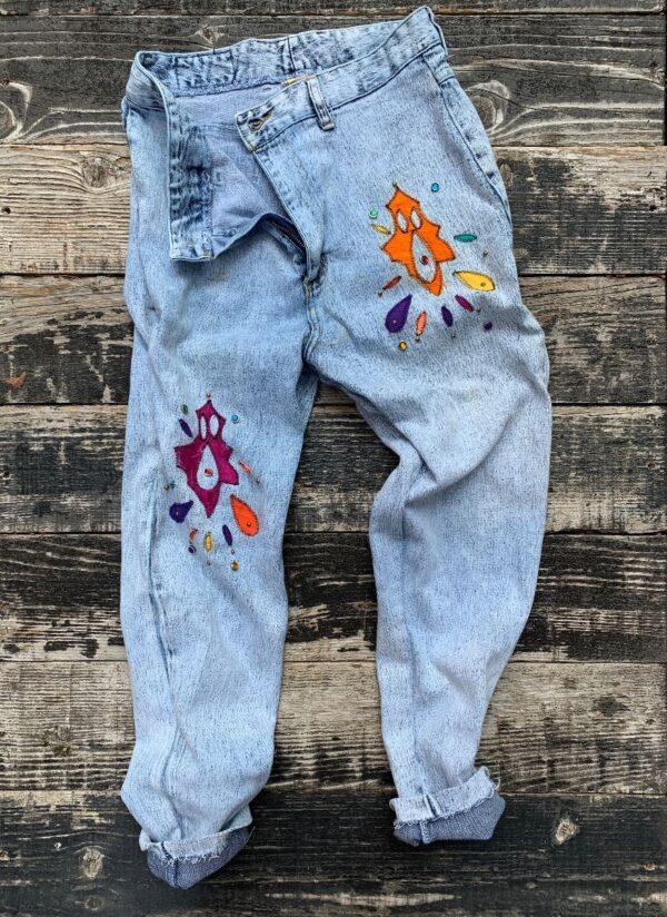 product details: WATCH L.A. ACID WASH BEJEWELED APPLIQUE TAPERED LEG DENIM PANTS photo