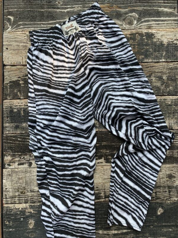 product details: DEADSTOCK ZUBA STYLE RAIDER BLACK AND WHITE ZEBRA COLOR-WAY ELASTIC WAIST WORKOUT COTTON JAM PANTS photo