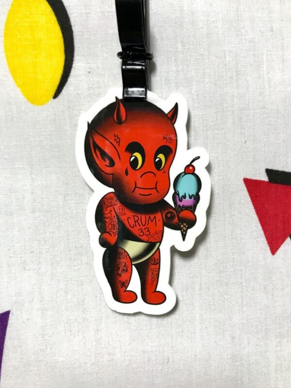 product details: TATTED BABY DEVIL WITH ICE CREAM CRUM 33 STICKER  *LOCAL ARTIST photo