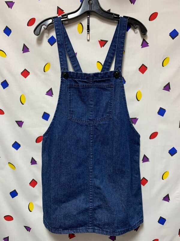 product details: DARK BLUE DENIM OVERALL DRESS ADJUSTABLE BUTTON STRAPS FRONT AND REAR POCKETS photo