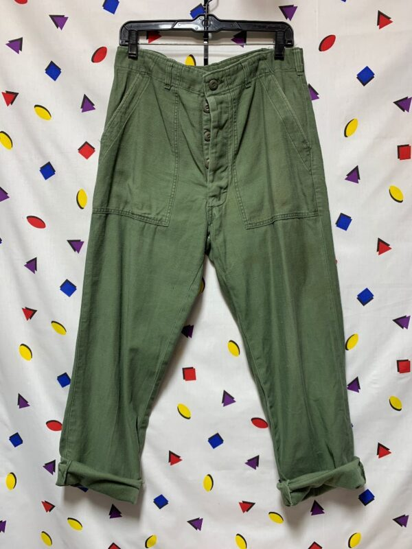 product details: MILITARY COMBAT FATIGUE BUTTON FLY PANTS VIETNAM ERA AS-IS photo