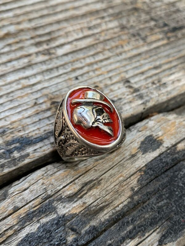 product details: TOP HAT LAUGHING SKULL THREE SIDED RED ENAMEL BIKER RING WITH FIREBIRD SIDE DESIGN photo