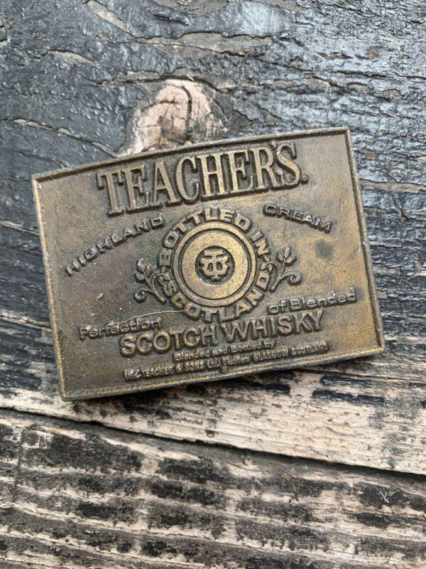 product details: VINTAGE 1970S TEACHERS SCOTCH WHISKY BOOZE BRASSTONE SOLID BRASS BELT BUCKLE BARTENDER DRINKER GIFT photo