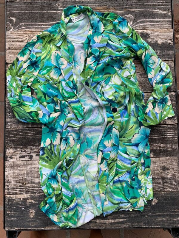 product details: TROPICAL RAYON LONGSLEEVE BUTTON DOWN HIBISCUS ALOHA DRESS / LIGHT WEIGHT JACKET photo