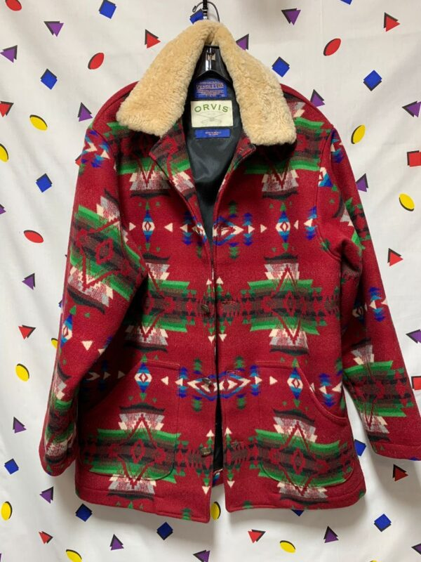 product details: PENDLETON NAVAJO PRINT WOOL OVERCOAT W/ SHERPA COLLAR AND BUFFALO NICKEL BUTTONS photo