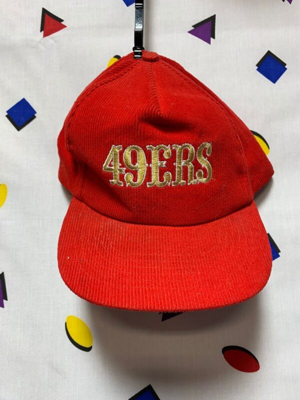 product details: SAN FRANCISCO 49ERS CORDUROY SNAPBACK HAT W/ MINER LETTERS AS-IS photo