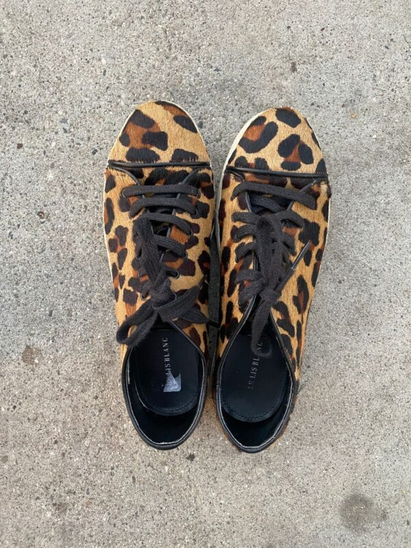 product details: LEOPARD PRINT PONY HAIR LACEUP LEATHER LINED SNEAKERS photo