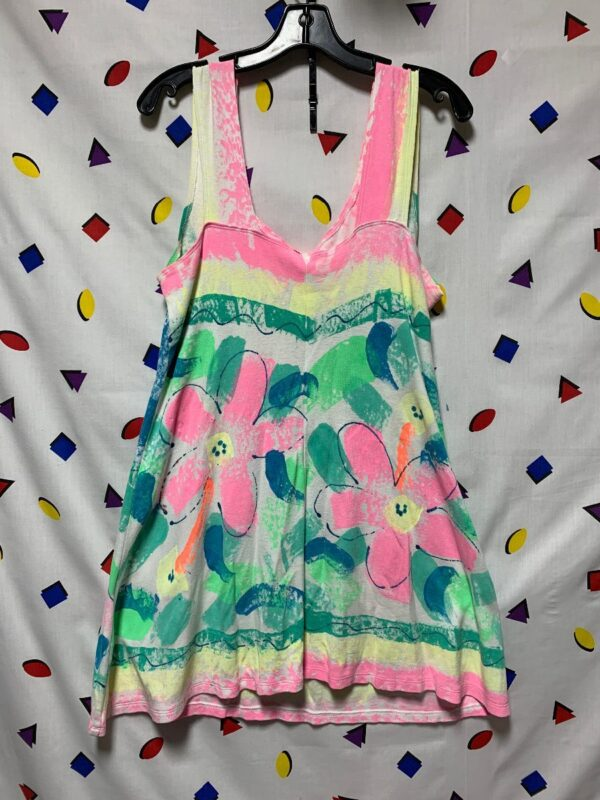 product details: SUMMERY 1980S NEON FLORAL FISH MINI DRESS SLEEVELESS HAND PAINTED IN MAUI photo