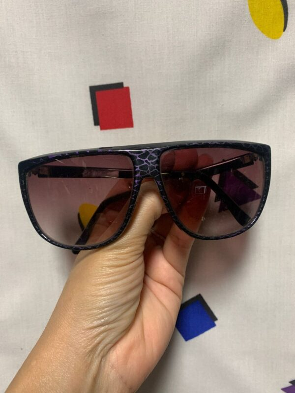 product details: RAD 1980S OVERSIZED SNAKESKIN PRINT PURPLE LENSE SUNGLASSES photo