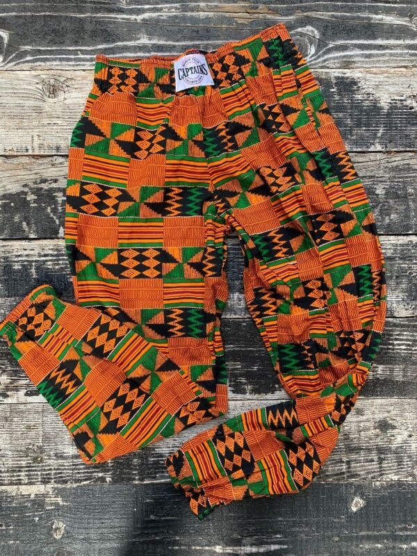product details: 1990S THROWBACK ELASTIC WAIST KENTE CLOTH PRINT JAM PANT JOGGERS photo