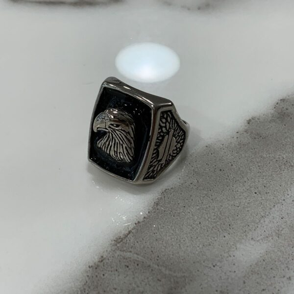 product details: SHINING BLACK INLAY AMERICAN EAGLE PROFILE BIKER RING photo