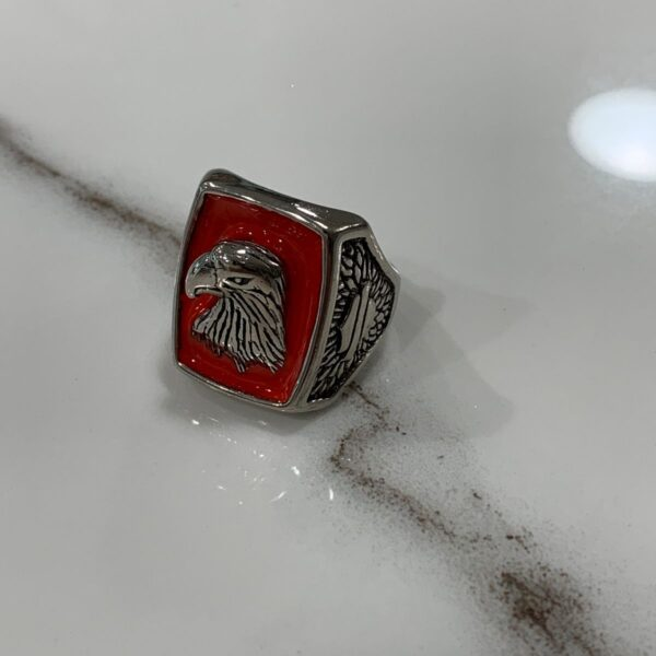 product details: AMERICAN EAGLE PROFILE RED ENAMEL INLAY BIKER RING photo