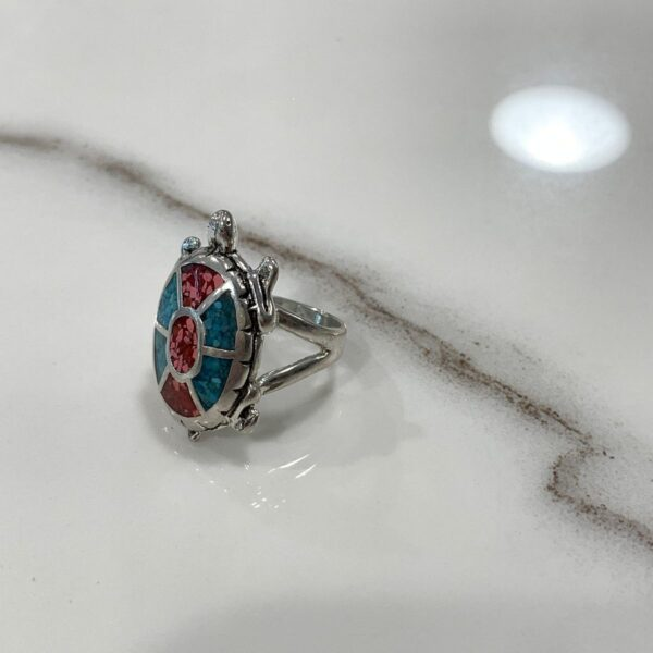 product details: ADORABLE CRUSHED TURQUOISE AND CORAL SILVER TURTLE RING photo