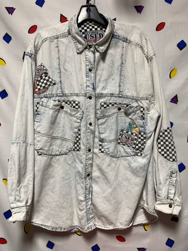 product details: 1980S OVERSIZED ACID WASH DENIM SHIRT WITH CHECKERED PATCHWORK AND SNAPS photo