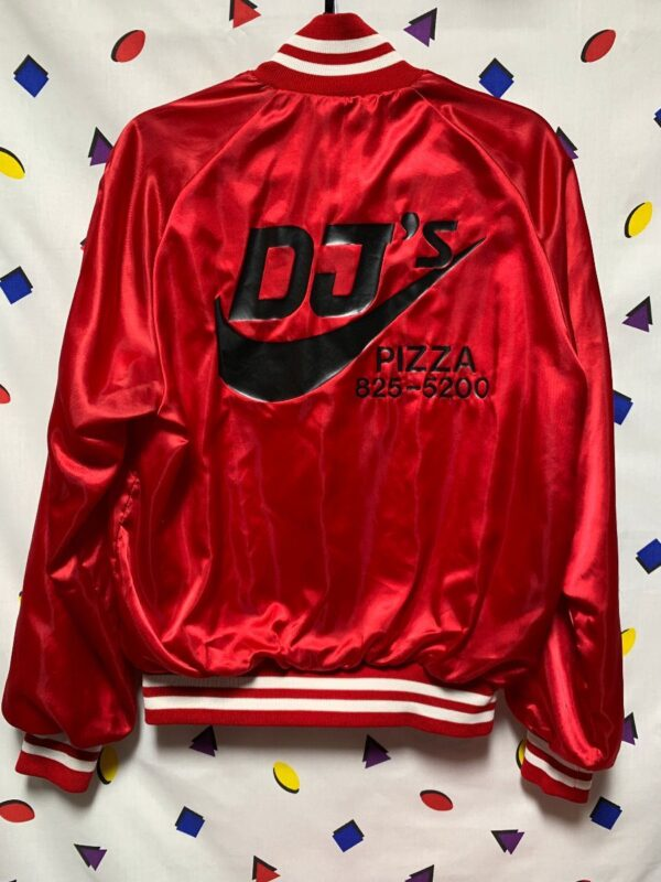 product details: DJS PIZZA DELIVERY SATIN BUTTON UP VARSITY JACKET SMALL FIT photo