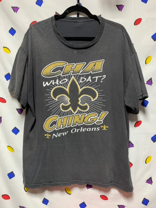 product details: BOXY THIN FADED NFL NEW ORLEANS SAINTS CHA CHING WHO DAT T-SHIRT photo