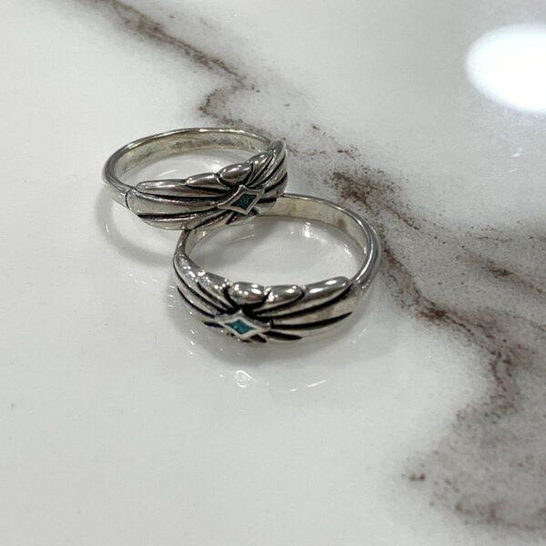 product details: ORNATE DIAMOND SHAPE CRUSHED TURQUOISE INLAY RING photo