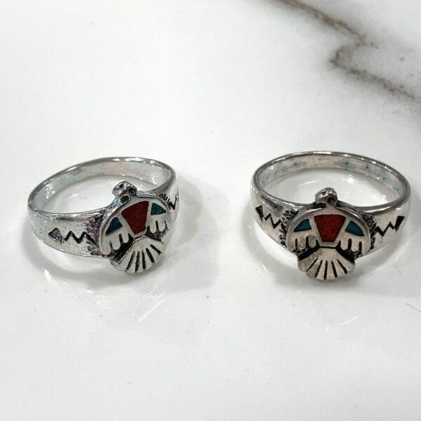 product details: NATIVE AMERICAN THUNDERBIRD SYMBOL CRUSHED TURQUOISE AND CORAL INLAY RING photo